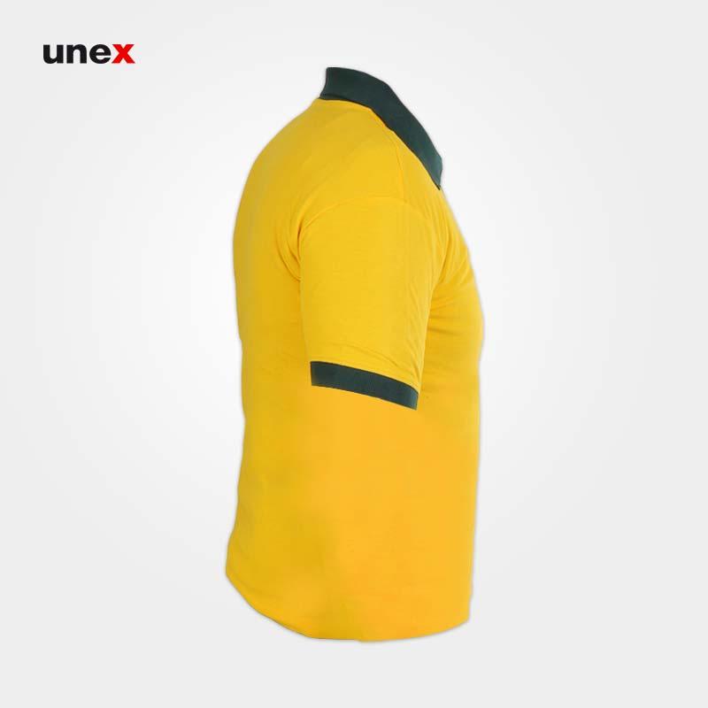 تی شرت یقه دار کش بافت جودون، ابزار ایمنی شهپر، لباس کار صنعتی، زرد - سبز، در سایزهای مختلف، ایرانی