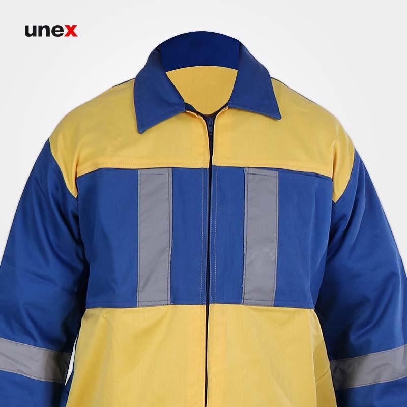 لباس کاپشن شلوار شبرنگ دار شهرداری، ابزار ایمنی شهپر، لباس کار صنعتی، آبی-زرد، ایرانی