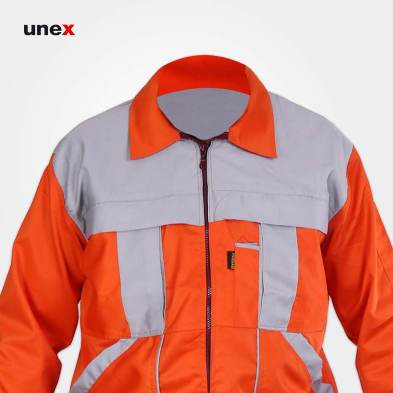 لباس کار کاپشن شلوار مهندسی آلفا، ابزار ایمنی شهپر، لباس کار صنعتی، نارنجی-استخوانی، ایرانی