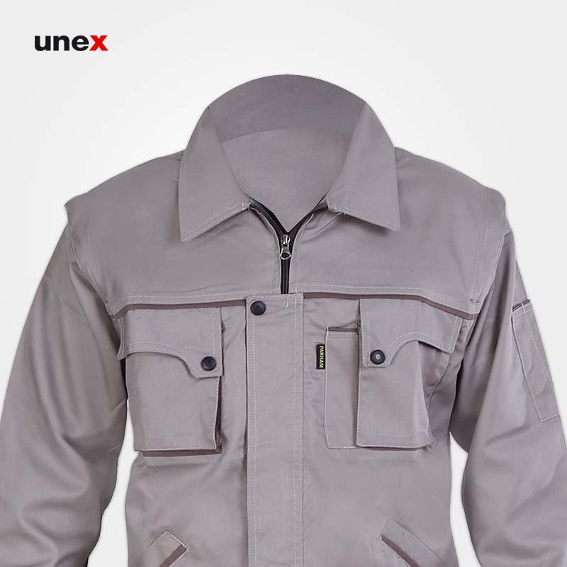 لباس کار کاپشن شلوار مهندسی جلیقه دار، ابزار ایمنی شهپر، لباس کار صنعتی، استخوانی، ایرانی