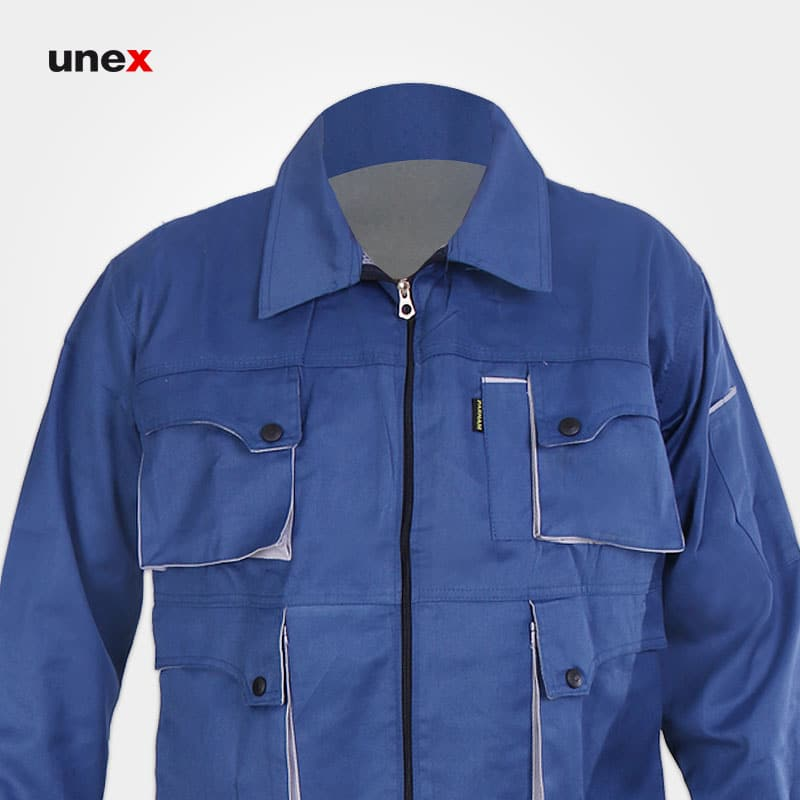 لباس کاپشن شلوار مهندسی ست ورک، ابزار ایمنی شهپر، لباس کار صنعتی، آبی کاربنی-استخوانی، ایرانی