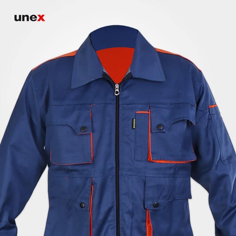 لباس کاپشن شلوار مهندسی ست ورک، ابزار ایمنی شهپر، لباس کار صنعتی،آبی کاربنی - نارنجی، ایرانی