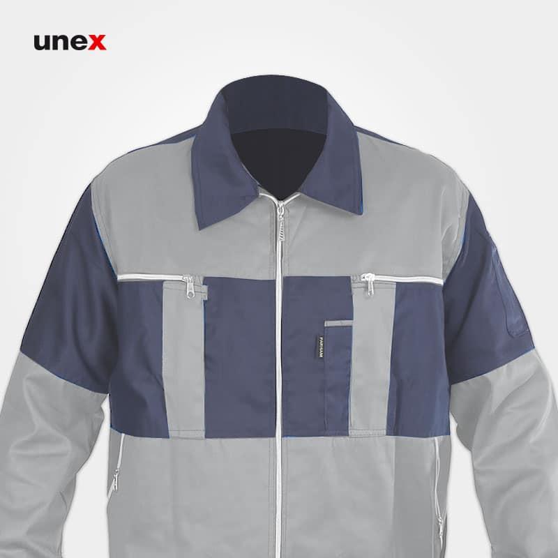 لباس کار کاپشن و شلوار سیلوری، ابزار ایمنی شهپر، لباس کار صنعتی، طوسی-استخوانی، ایرانی