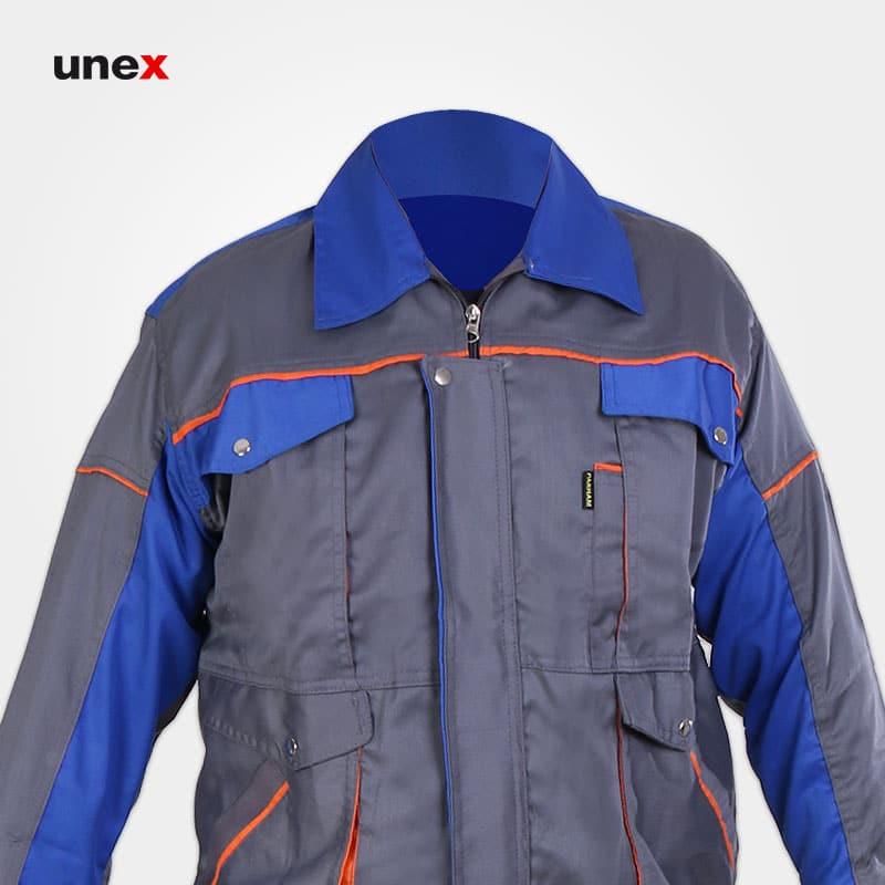 لباس کاپشن شلوار مهندسی طرح بوفالو، ابزار ایمنی شهپر، لباس کار صنعتی،طوسی_آبی، ایرانی