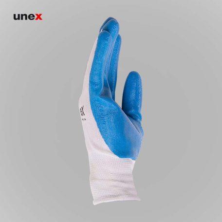 دستکش کف مواد، یونکس unex،دستکش ضد برش، سفید-آبی، ایرانی