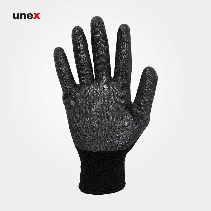 دستکش کف مواد ضخیم یونکس unex،دستکش ضد برش، طوسی-مشکی، ایرانی
