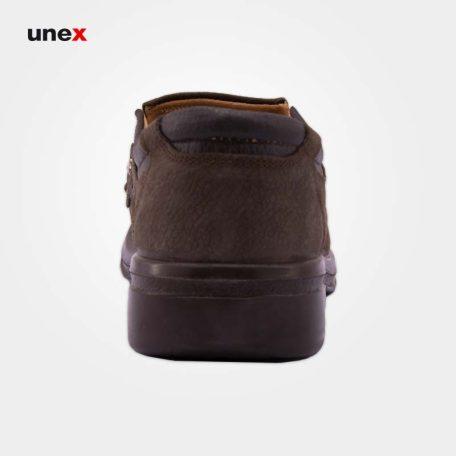 کفش پرسنلی مردانه نبوک، هلال، کفش اداری، قهوه ای تیره، سایز ۴۰ تا ۴۵، ایرانی